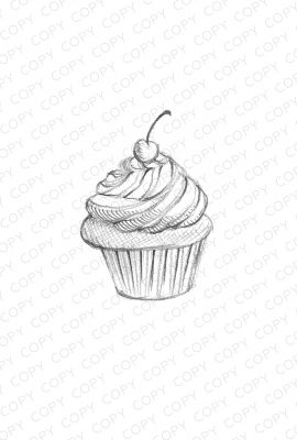 Cupcake Sketch Drawing
