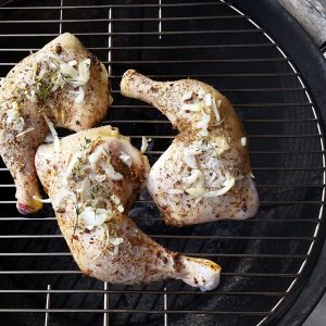 Food-Photography-Seasoned-Chicken-quarters-on-grill