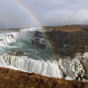 Rainbow over Gullfoss-Hvítá river in southwest Iceland-March-2013