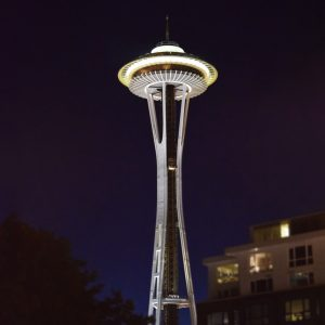 Seattle-Space-Needle-at-night-foreground-blurAug-2015